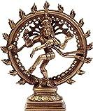 Artvarko Idol Lord Shiva Dancing Natraj Murti Nataraja Shiv Statue Brass Metal Home Décor Mandir Temple Gift Puja Pooja 6.5 Inches Showpiece