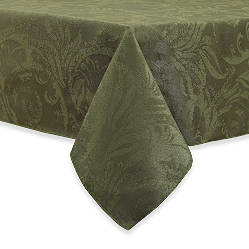 - Autumn Scroll Damask Fern Green Tablecloth, 60-by-120 Inch Oblong