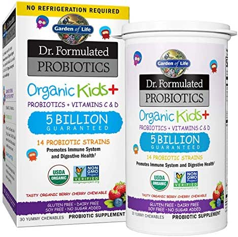 Garden of Life-Dr. Formulated Probiotics Organic Kids-Berry Cherry-Acidophilus and Probiotic Promotes Immune System,Digestive Health-Gluten,Dairy,Soy-Free,No Sugar Added-Chewables (30 Count)