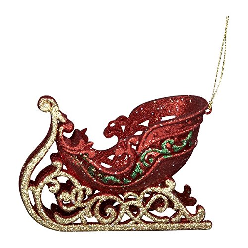 - Kurt Adler 4.7In Red, Green And Gold Acrylic Sled Ornament