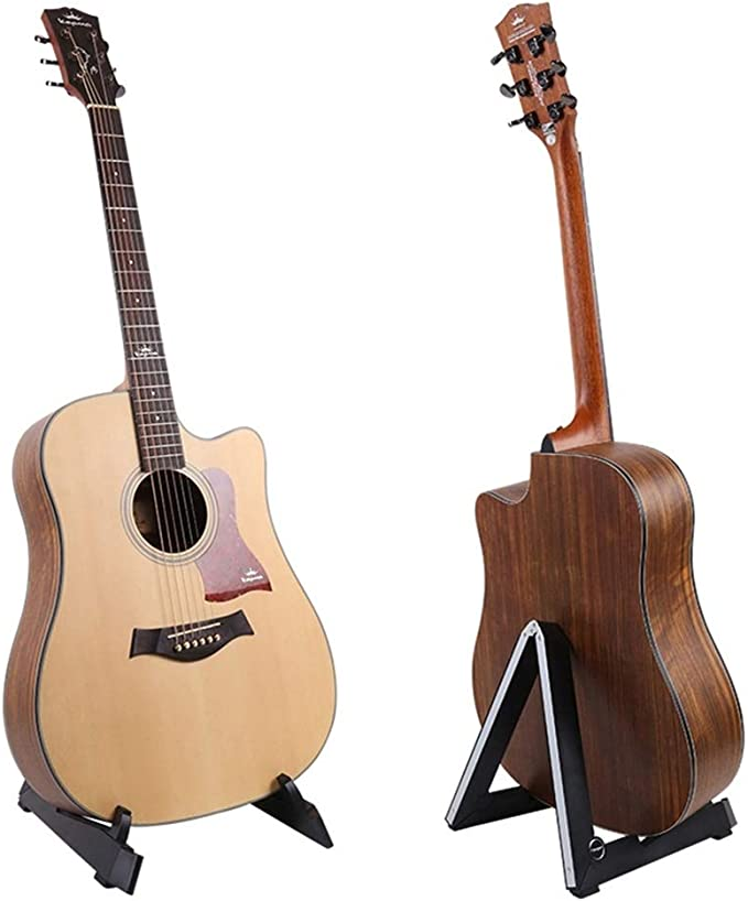 el/éctrica PlutuX Soporte para guitarra espa/ñola de madera para guitarra ac/ústica cl/ásica bajo Soporte port/átil para guitarra Soporte para instrumentos de m/úsica Suelo Naturaleza Nogal negro