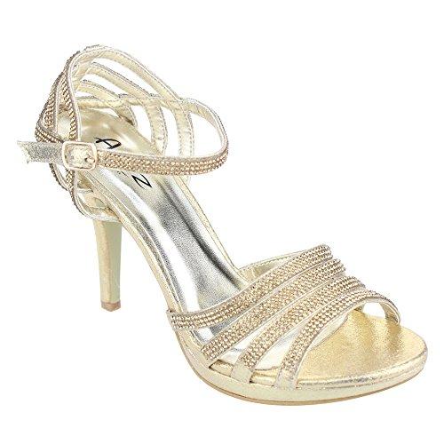 Diamante Soirée Champagne Or Or de Noir Taille soirée Prom Bridal Mesdames Mariage Sandal Rouge Argent High Femmes Chaussures Heel Aarz de PqBEx1qw