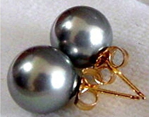 (10mm Natural Dark Gray South Sea Shell Pearl 14K Gold Plated Stud Earrings)