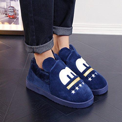 Y-Hui de hombres zapatillas de algodón pantuflas de invierno zapatos con engrosamiento Bolsa de deslizamiento inferior,hembra 44/45 (apto para 43-44 pies),azul