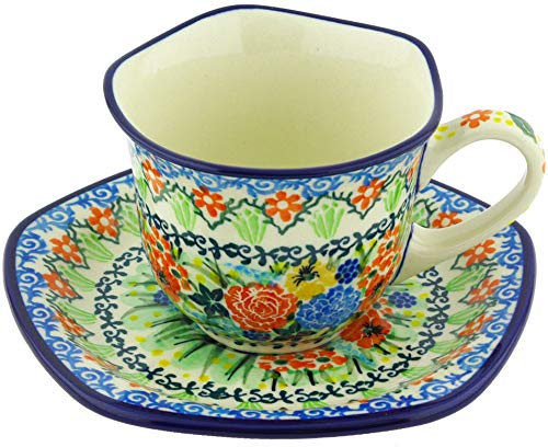 (Polish Pottery Cup with Saucer 8 oz)