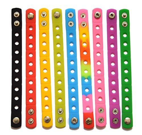 Wrist Bracelet 9pcs 9 Colors 18cm Adjustable Jibbitz Croc Band Party Gifts (18cm (Crocs Bracelet)