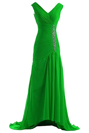 Victoria Prom Trailing Evening Dresses Chiffon Bridal Reception Gowns Apple Green us2