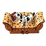 SPOTTED DOG ON COUCH - LIMOGES PORCELAIN FIGURINE BOXES AUTHENTIC IMPORTS
