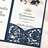 DORISHOME 4.7x7 Inch 50PCS Blank Navy Blue Wedding