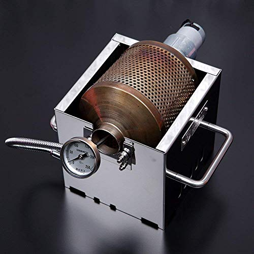 (KALDI Mini Size (200~250g) Home Coffee Roaster Including Thermometer -Gas Burner Required (Motorize with Sampler & Hopper))