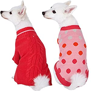 """Blueberry Pet 2 Patterns Pack of 2 Winter Coziness Warm Tone Dog Sweaters with Polka Dot and Classic Cable Knit Pattern, Back Length 14"""", Clothes for Dogs"""