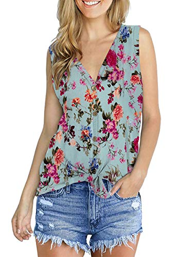 - Women Summer Tank Tops Fashion Tie Knot Cute Clothes Boho Floral Lightblue M