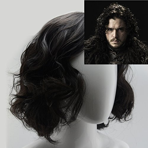 [iLToy Curly Short Black Wig and Wig Cap for Men - Jon Snow] (Wigs For Mens)