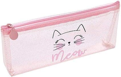 Estuche para lápices de PVC con diseño de gatito, color rosa, color MEOW CAT: Amazon.es: Oficina y papelería
