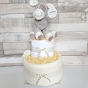 Unisex Neutral Nappy Cake New Baby Hamper Baby shower Gift 2 tiers (free delivery)