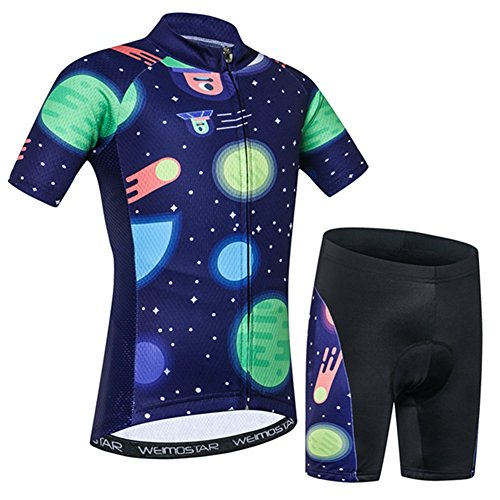 - Kids Cycling Jersey Set Cartoon Short Sleeve Bike Top for Boy Girl with Padded Shorts Moon Size M