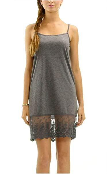 48c8142415bae6 Melody Women s Solid Knit Lace Full Slip Dress - Skirt Extender (Small