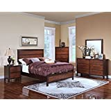 New Classic 00-145-34N Bishop 4-Piece Bedroom Set Queen Bed, Dresser, Mirror, Nightstand, Two Tone