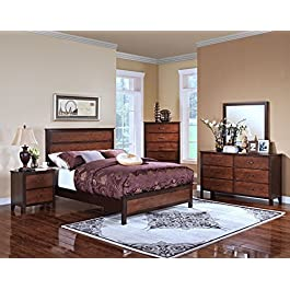 New Classic 00-007-25N Timber City 5-Piece Bedroom Set with Wood Panel California King Storage Bed, Dresser, Mirror