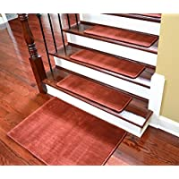 Dean Premium Non-Skid Carpet Stair Treads - Velvet Red Rug Runners 30 x 9 (Set of 15) Plus a Matching 2 x3 Landing Mat