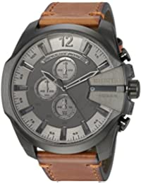Men's 'Mega Chief' Quartz Stainless Steel and Leather Casual Watch, Color:Brown (Model: DZ4463)