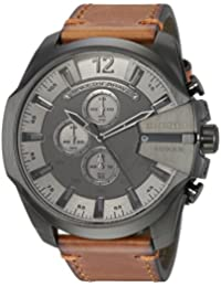 Diesel Men's 'Mega Chief' Quartz Stainless Steel and Leather Casual Watch, Color:Brown (Model: DZ4463)