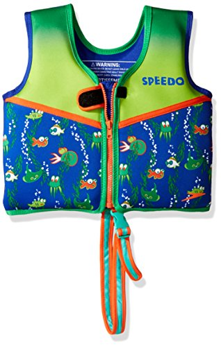 (Speedo Kids UPF 50+ Begin to Swim Printed Neoprene Swim Vest, Sapphire Blue, Medium)