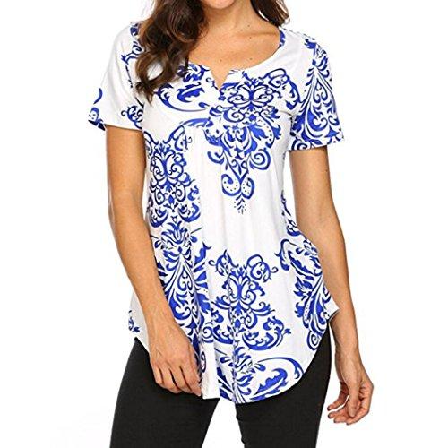 (Clearance 2018 Summer Women Floral Print Short Sleeve V Neck Boho Casual Tunic Blouse T-Shirt Tops (M, BU))