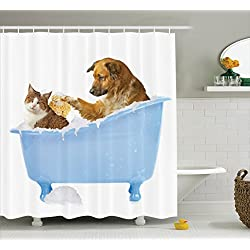 Dog Lover Decor Shower Curtain Set By Ambesonne Dog And Kitty In The Bathtub Together