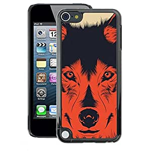 A-type Arte & diseño plástico duro Fundas Cover Cubre Hard Case Cover para Apple iPod Touch 5 (Dog Evil Devil Hund Shepard Red Poster)