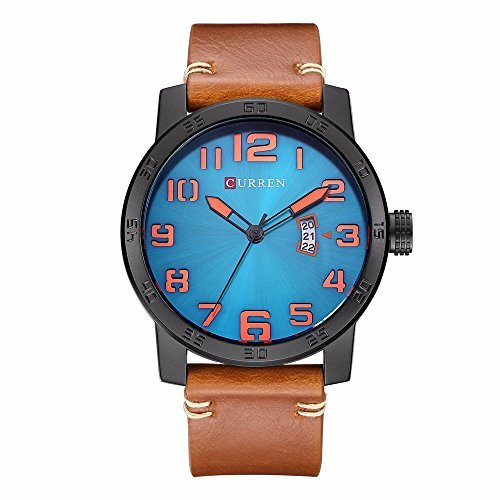 CURREN 8254 (Black Brown Blue) Men's Sports Waterproof Leather Strap Date Good Quality Wrist Watch Digital Solar Bracelet