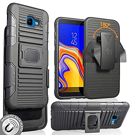 official photos 1f16f 58367 Galaxy J4 Core/Plus Case with Clip, Nakedcellphone Black Rugged Ring Grip  Cover + Belt Hip Holster Stand [with Built-in Mounting Plate] for Samsung  ...