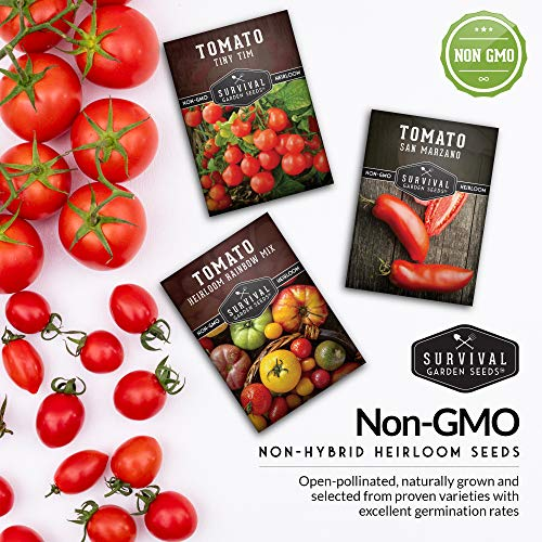 Survival Garden Seeds Tomato Collection Seed Vault - Non-GMO Heirloom Survival Garden Seeds for Planting - Waterproof Packaging for Long Term Storage