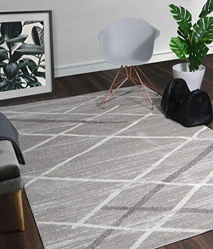 (A2Z Rug Modern Contemporary Gray, Dark Gray Salvador 9957 Area Rugs 160x230 cm - 5'3