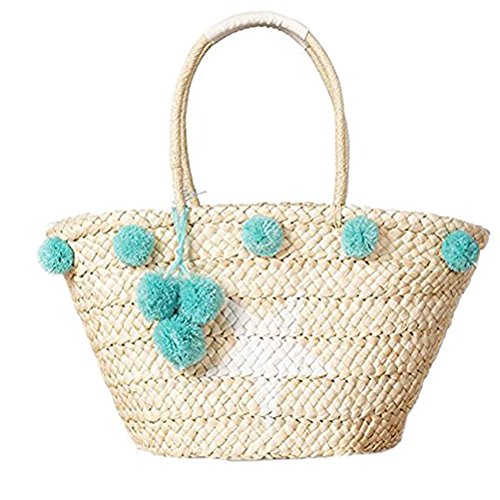 Abuyall Sac De Paille Corn Husk Tiss¨¦ ? Rayures Plant Broderie Animal Gland Pompoms Balls Plage d'¨¦t¨¦Sac ? Bandouli¨¨re Pt5