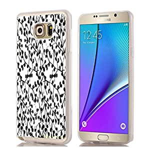 Galaxy NOTE 5 Case, Samsung Galaxy Note 5 Case basic black and white floral flower print pattern theme