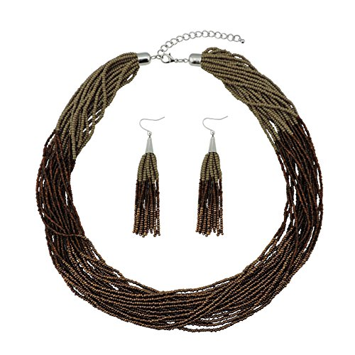 Bocar Multi Layer Beaded Statement Necklace Set Mix Strand Necklace and Earrings for Women Gift (NK-10459-Dark Khaki+Coffee+Antique Copper)