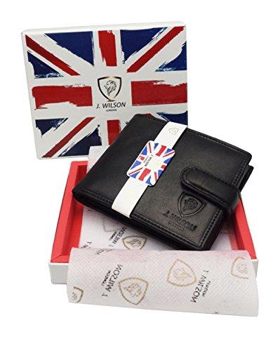 J  Wilson London Italian Veg Tan Luxury Leather Wallet For Banknotes Credit Cards Coins   Photo Medium Black