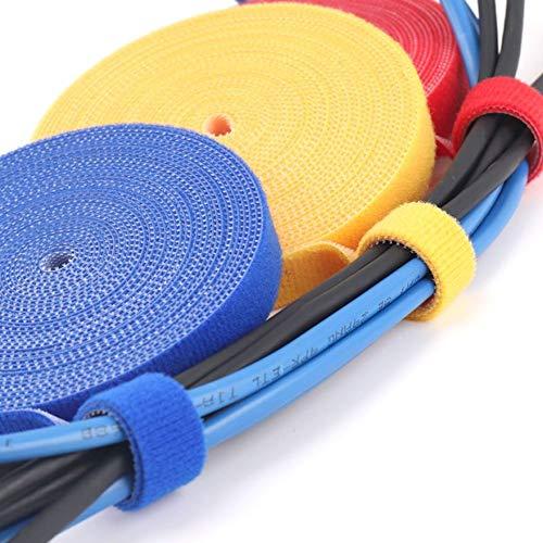 Bridas y abrazaderas para cables Cable de datos para computadora Correa de red Nylon Sujeci/ón de cables negro Gancho y lazo Ataduras de cables 5 m 1 cm Negro