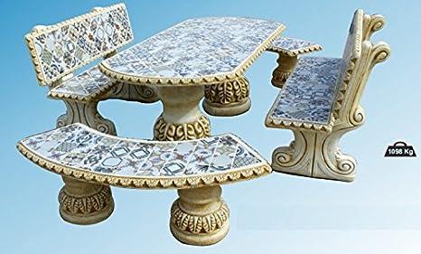 Tavolo Esterno Con Piastrelle : Set di tavolo pranzo sandwich e panche con schienale per giardino o