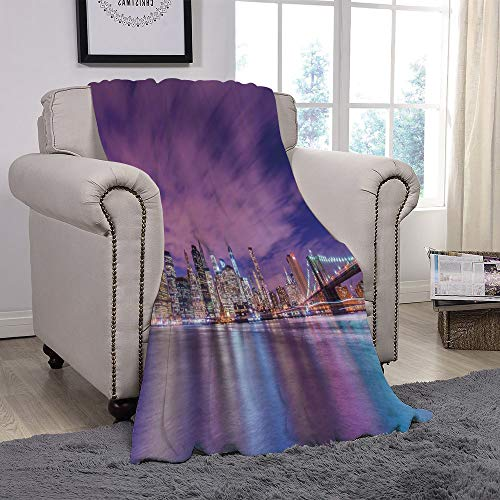 (SCOCICI Super Soft Throw Blanket/Modern,New York City Skyline at Night with Skyscrapers Manhattan USA American Panorama,Violet Purple/for Couch Bed Sofa for Adults Teen Girls)