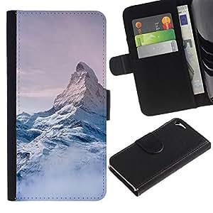 Billetera de Cuero Caso del tirón Titular de la tarjeta Carcasa Funda del zurriago para Apple Iphone 5 / 5S / Business Style Mountain Snow Sky High White Blue