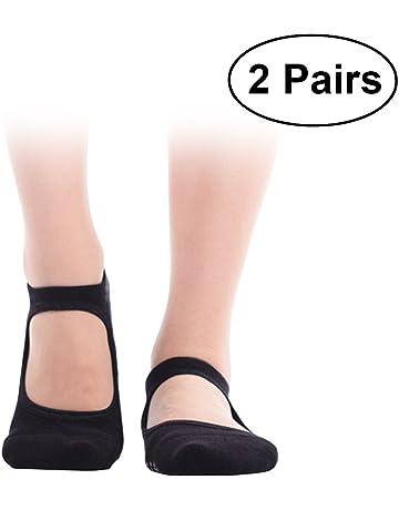 VORCOOL 2 Pares de Calcetines de Yoga Pilates Calcetines de algodón Antideslizante Calcetines de Baile Ballet