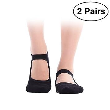 VORCOOL 2 Pares de Calcetines de Yoga Pilates Calcetines de algodón Antideslizante Calcetines de Baile Ballet Deporte Masaje Tobillo Calcetines para Mujeres ...