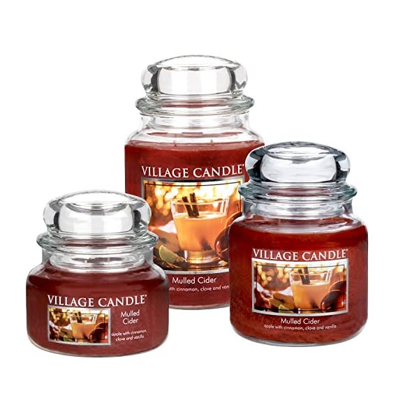 Village Candle Mulled Cider 26 oz Glass Jar Scented Candle, Large - Fragrance Notes Of Apple, Cinnamon, Clove, And Vanilla Pure, Rich, And Vibrant Deep Red Colored Food-Grade Paraffin Wax Fragranced By The World's Finest Scented Oils Village Candle's Pioneered Dual Wick Technology Provides Greater, Consistent Fragrance Release, Longer Burn Time, And Even Wax Burn With Less Soot - living-room-decor, living-room, candles - 51DVocejn5L. SS570  -
