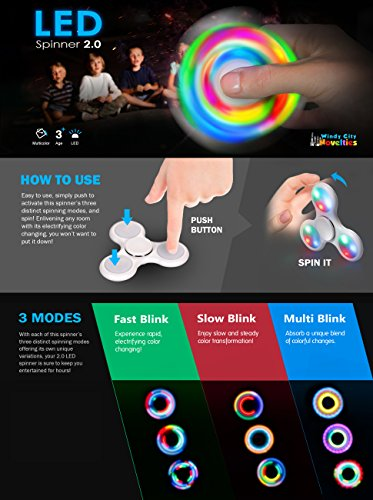 2nd Gen Push Activated 3 Flashing Modes LED Glow Premium Fidget Focus Spinner Toy for Stress Relief, ADHD, Anxiety & Rave/EDM (Black)