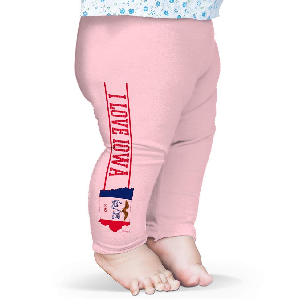 Twisted Envy Baby Leggings I Love Iowa State Flag Baby and Toddler Girls Leggings