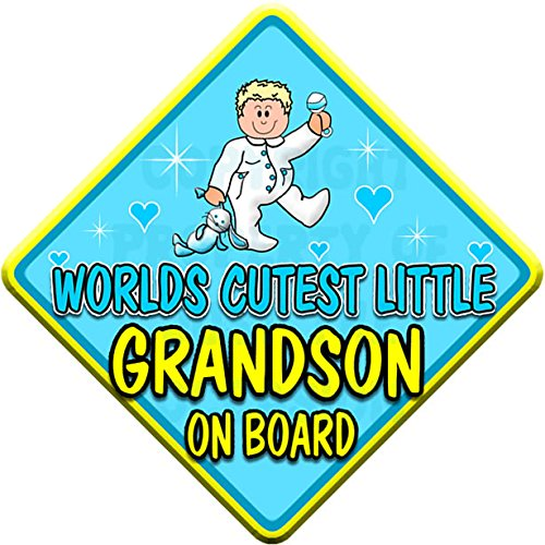 (ONESIE) WORLDS CUTEST LITTLE GRANDSON ON BOARD (like baby on board sign) Non Personalised novelty baby on board car window sign.