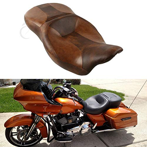 Leather Touring Seat - XFMT Desert Rider and Passenger Seat Compatible with Harley Touring Tri Glide 2014-2018 2015 2016
