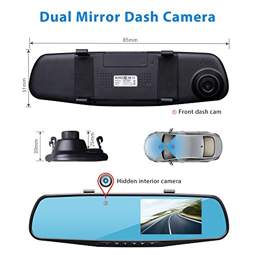 provision isr hidden dual dash cam hidden interior mirror camera and a hd 1080p front dvr. Black Bedroom Furniture Sets. Home Design Ideas
